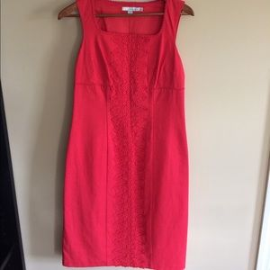 Boden sleeveless coral dress with lace details